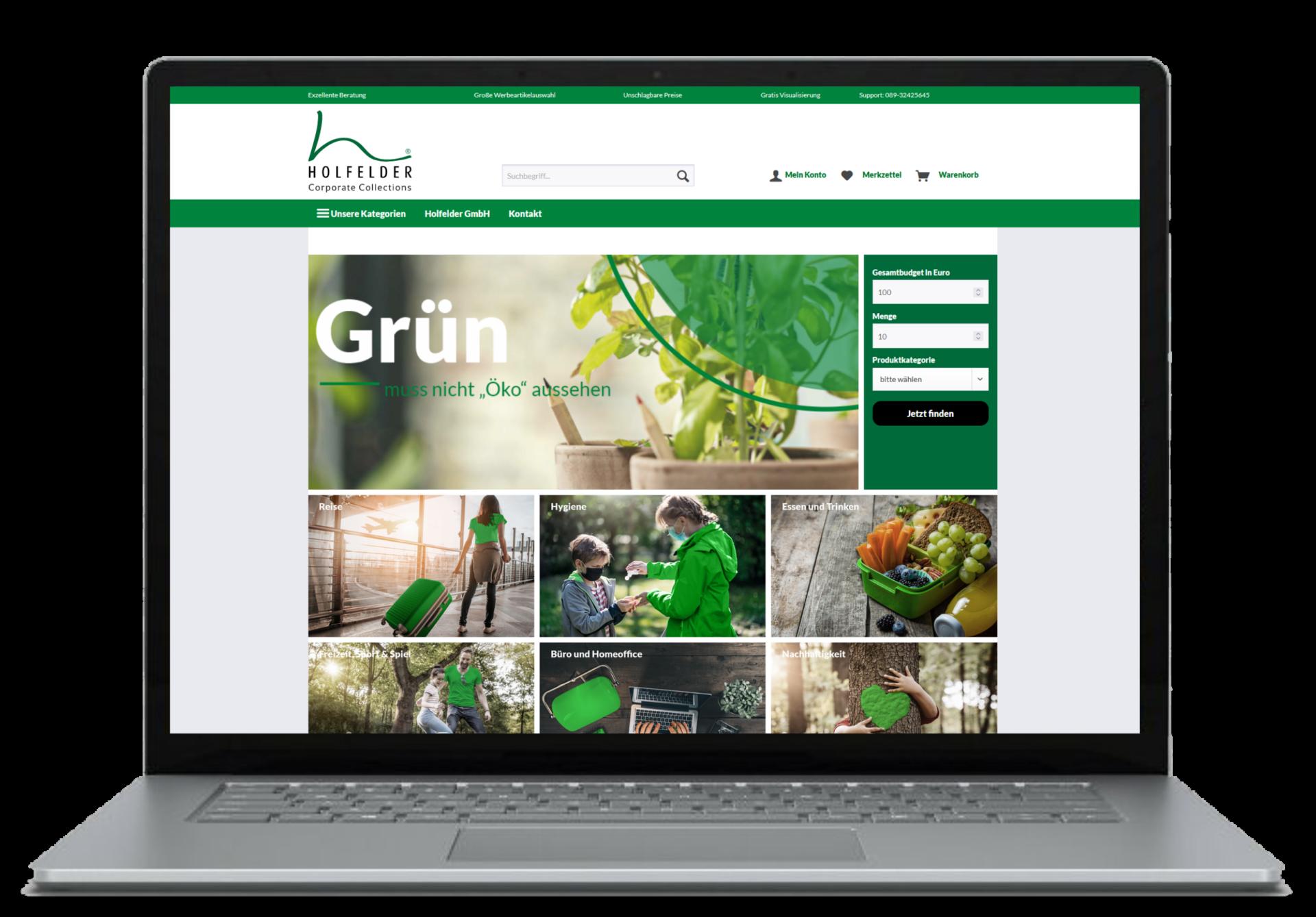 offener Laptop mit Holfelder Werbemittelshop geöffnet im Browser
