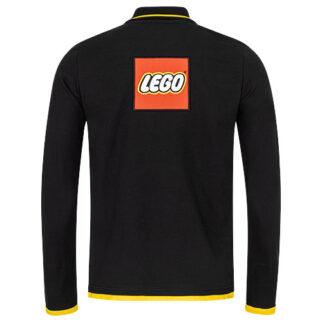 Lego langarm Polo mit gelben Kontrasten und Weblabel auf dem Rücken
