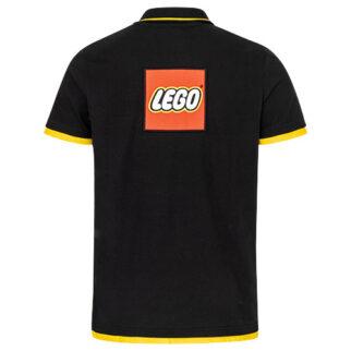 Lego Polo mit gelben Kontrasten und Weblabel auf dem Rücken
