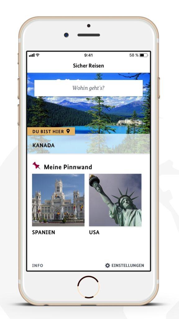 Screenshot der Sicher-Reisen App